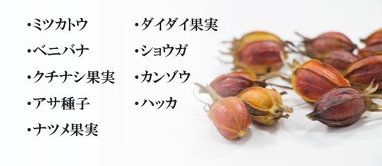 ミツカトウ・ベニバナ・クチナシ果実・アサ種子・ナツメ果実・ダイダイ果実・ショウガ・カンゾウ・ハッカ